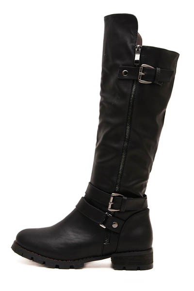 Black Faux Leather Buckled Side Zip Riding Boots