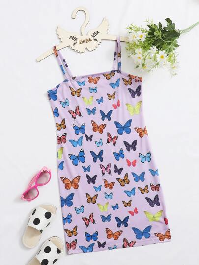 Girls Allover Butterfly Print Bodycon Dress