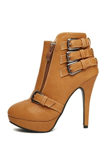 Brown Faux Leather Buckle Accent Stylish Booties