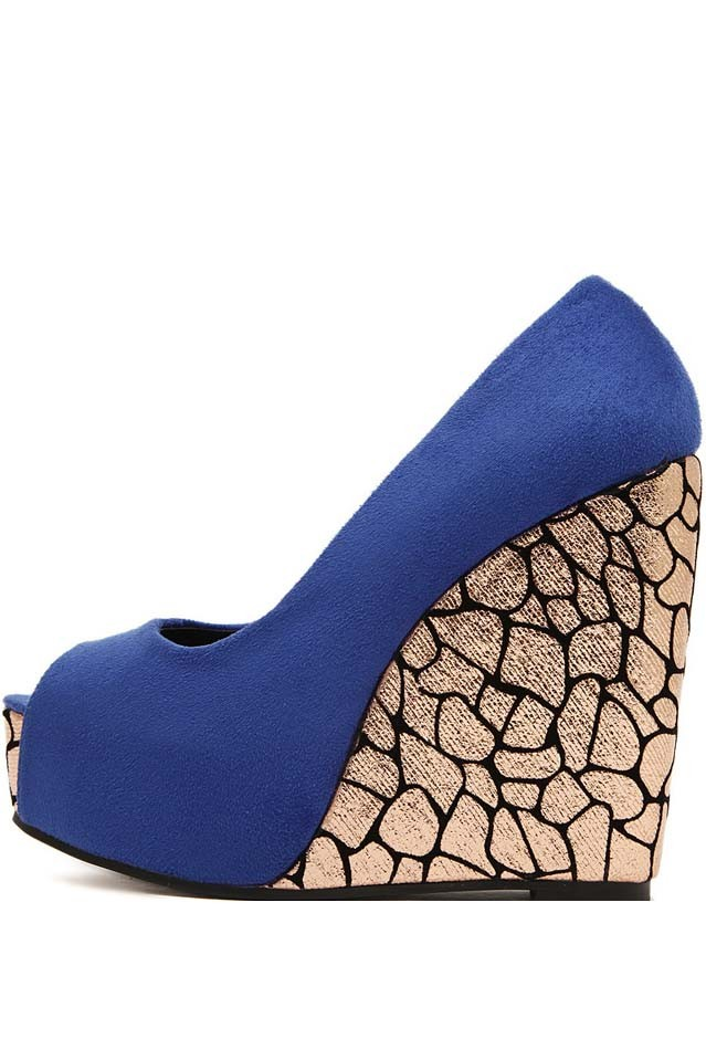 Blue Faux Suede Peep Toe Platform Wedges