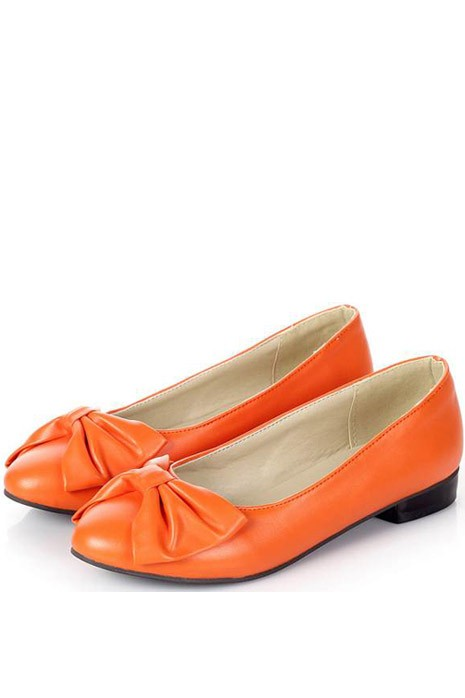 Faux Leather Pure Color Top Bow Decor Flats