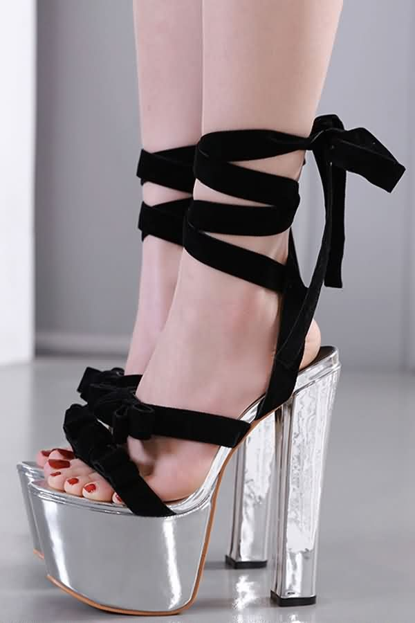Black Lace Up Platform Open Toe Chunky Heel Sandals