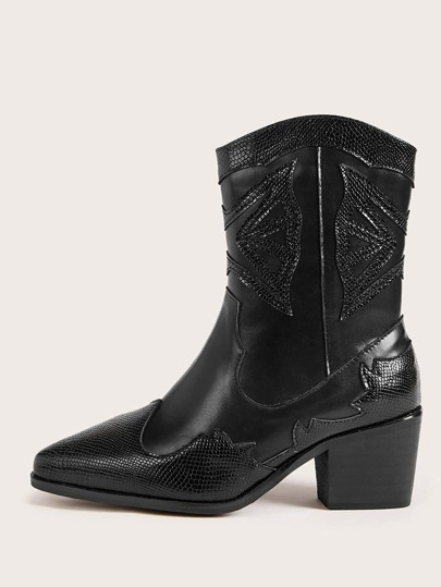 Lizard Print Point Toe Chunky Heeled Boots