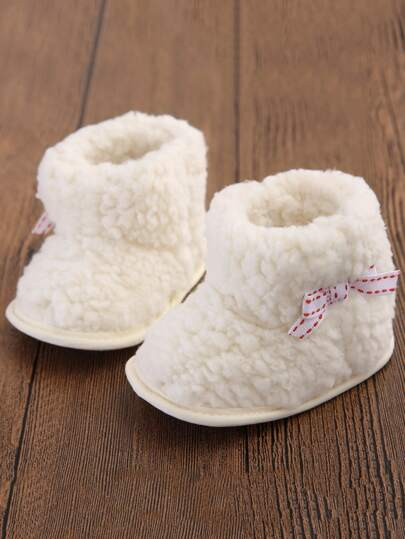 Baby Girls Bow Side Fuzzy Boots