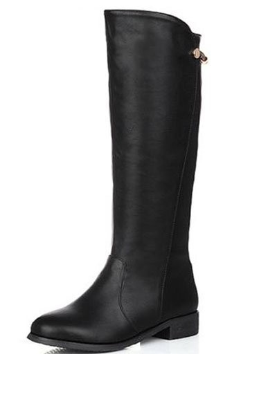 Faux Leather Round Toe Metal Decor Boots
