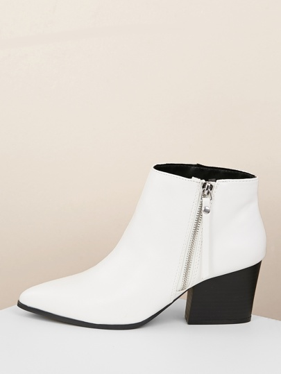 Side Zipper Pointy Toe Chunky Heel Ankle Boots
