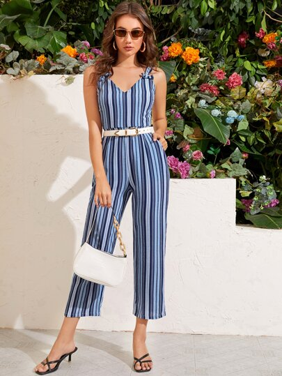 Vertical Striped Double Bow Cami Jumpsuit Without Belted