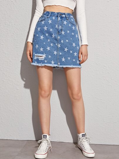 Star Print Raw Hem Ripped Denim Skirt