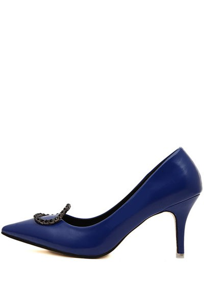 Blue Pu Pointed Toe Single Sole Pump Heels