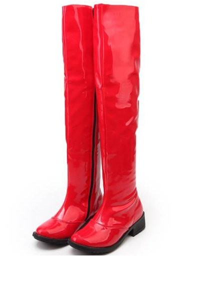 Faux Patent Leather Over The Knee Casual Boots