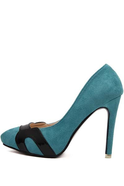 Teal Suede Pointed Toe Pump Stiletto Heels