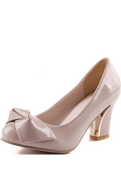 Pure Color Faux Patent Leather Bow Decor Chunky Heels