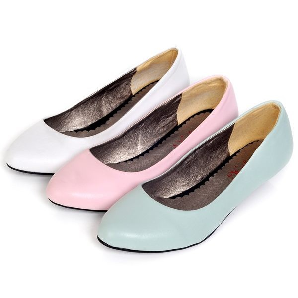 Pure Color Faux Leather Sweet Flats