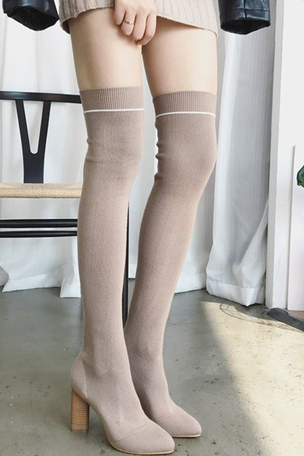 Apricot Pointged Toe Striped Chunky Heel Thigh High Sock Boots