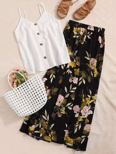 Button Front Cami Top With Floral Skirt