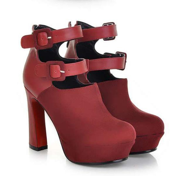 Red Scrub Pu Double Buckle Straps Booties