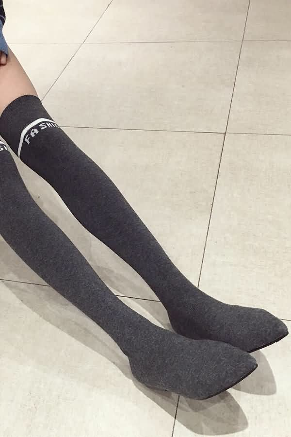 Gray Letter Print Stretchy Thigh-high Sock Boots