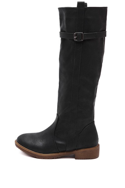 Black Buckle Strap Knee High Riding Boots