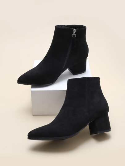 Point Toe Side Zip Ankle Boots