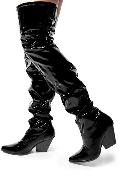 EAST SIDE CHUNKY STACKED HIGH HEEL OVER THE KNEE BOOTS-BLACK