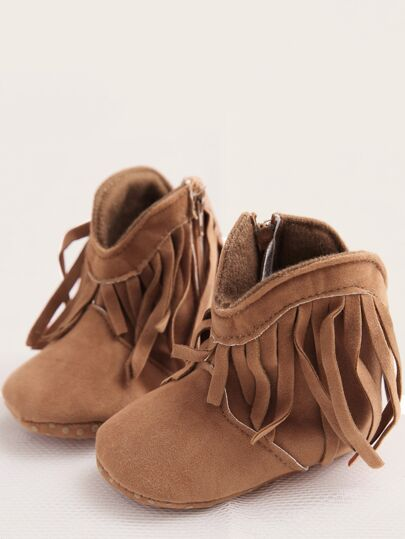 Baby Girls Fringe Decor Side Zip Boots