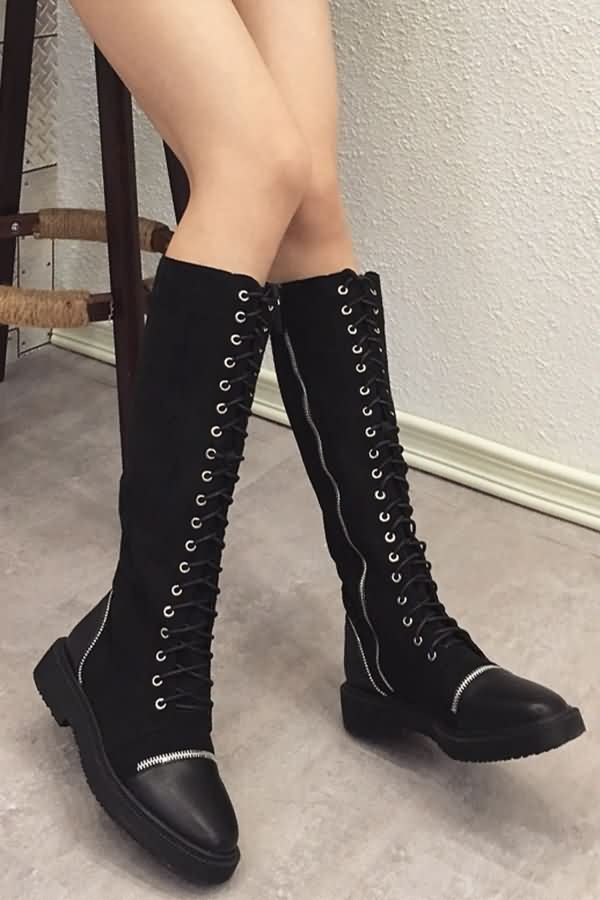 Black Leather Lace Up Side Zipper Round Toe Block Heel Mid-calf Boots