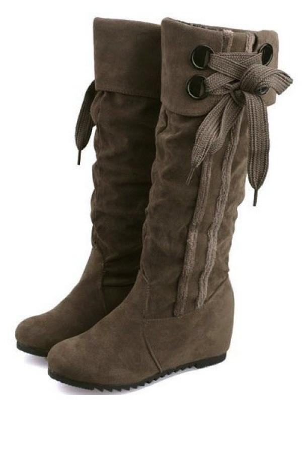 Coffee Suede Side Lace Up Slouchy Mid Calf Boots