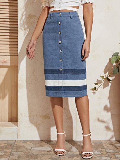 Button Front Striped Pencil Denim Skirt