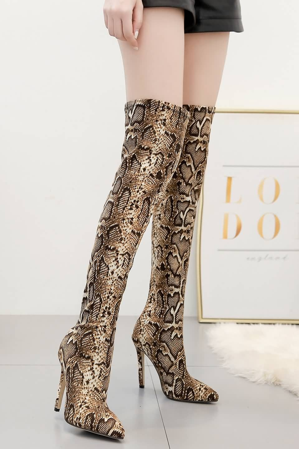 Brown Snakeskin Print Stiletto Over The Knee Boots