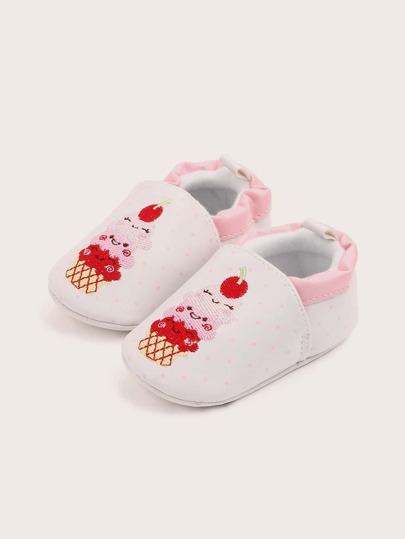 Baby Boy Cartoon Embroidered Flats