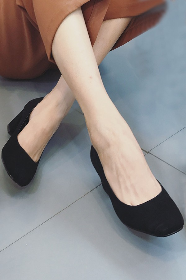Black Suede Square Toe Chunky Heels