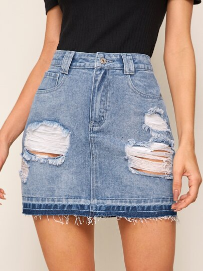 Star Embroidery Ripped Raw Hem Denim Skirt