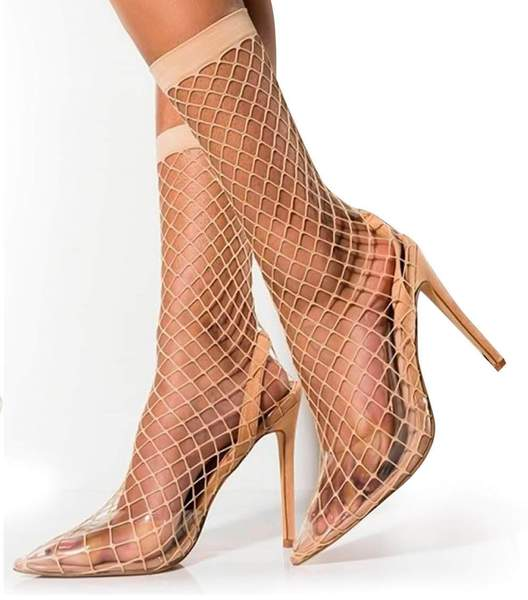 JUAN FISHNET SLING BACK POINTED TOE STILETTO HIGH HEELS-NUDE