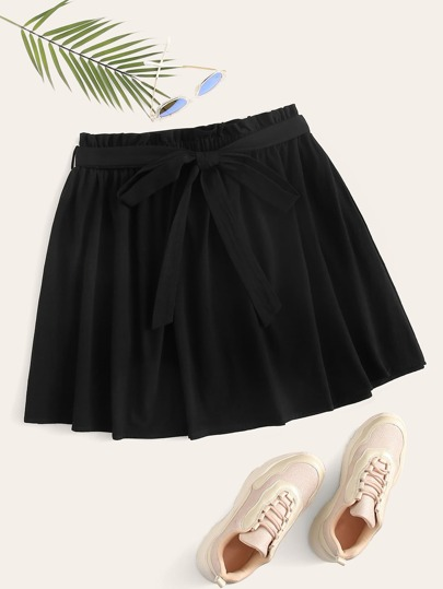 Plus Paperbag Waist Belted Skater Skirt