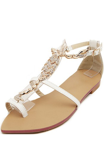 White Faux Leather Metallic Glitter Toe Ring Sandals