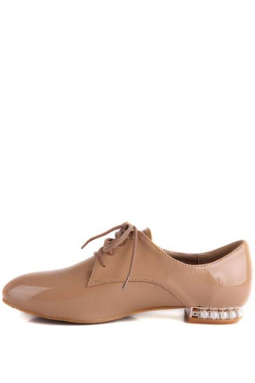 Faux Patent Leather Pearl Decor Lace Up Flats