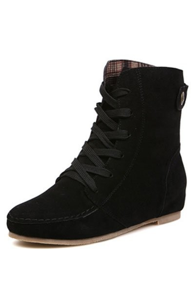Black Suede Lace Up Flat Ankle Boots