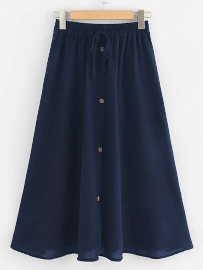 Plus Button Front Tie Front Skirt