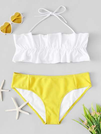 Frill Halter Bandeau Top With Textured Bikini
