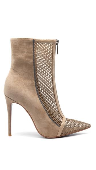 PUMP STILETTO HIGH HEEL POINTED TOE MESH ANKLE BOOTS- NUDE
