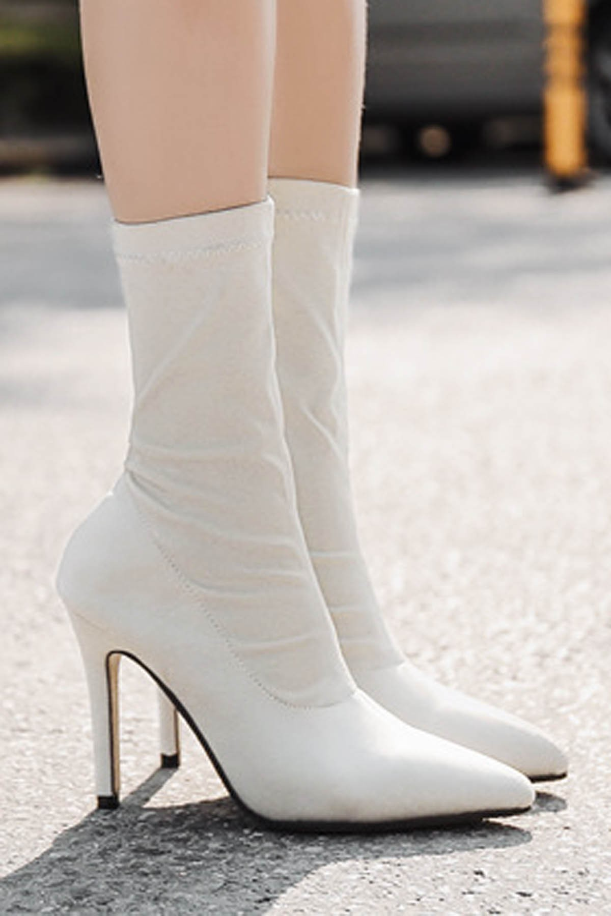 White Pointed Toe Stiletto Heel Mid Calf Sock Boots