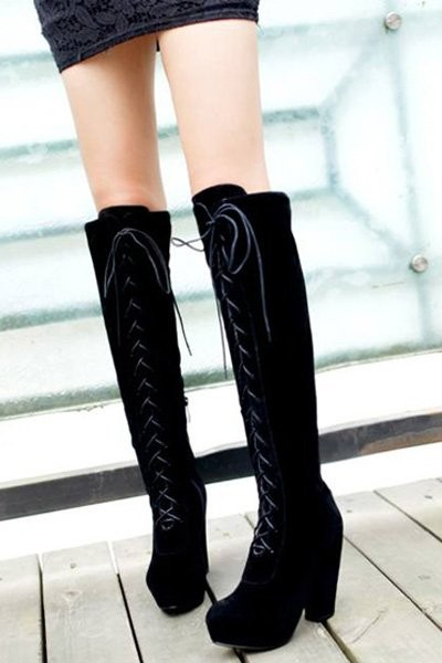 Black Suede Over The Knee Heels Boots