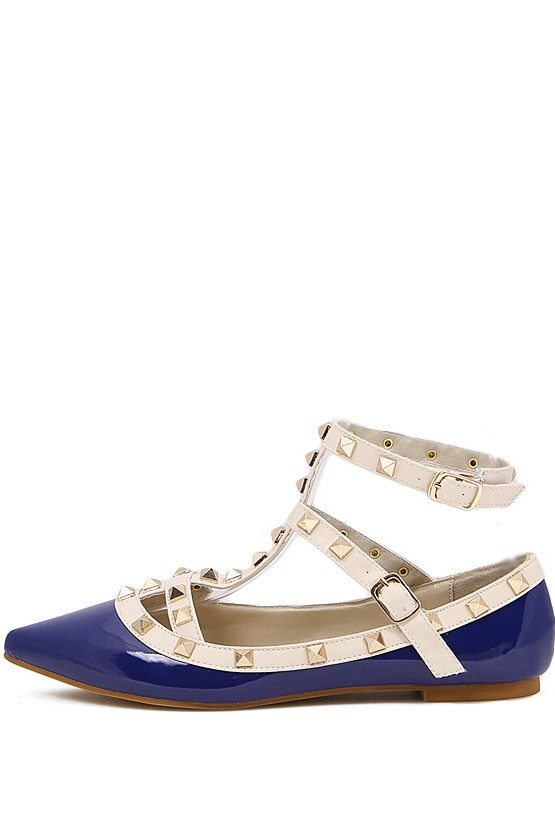 Blue Faux Leather Studded Ankle Strappy Flats