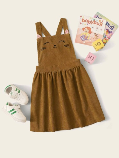 Girls Crisscross Back Embroidered Cord Pinafore Dress