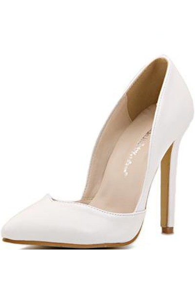 White Pu Pointed Toe Pump Heels