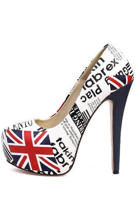 White Pu Flag Print Pump Stiletto Heels