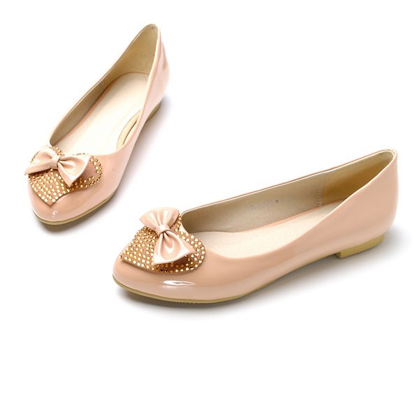 Faux Leather Top Bow And Heart Decor Flats