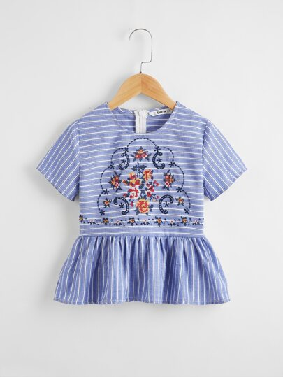Girls Tribal Embroidered Striped Peplum Top