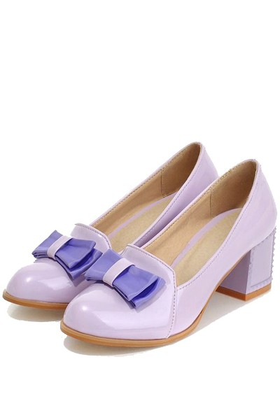 Light Purple Patent Leather Bow Accent Chunky Heels