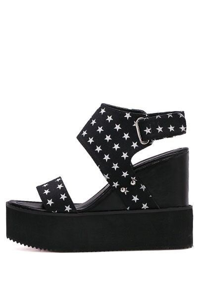 Black Star Print Open Toe Ankle Strap Casual Wedges